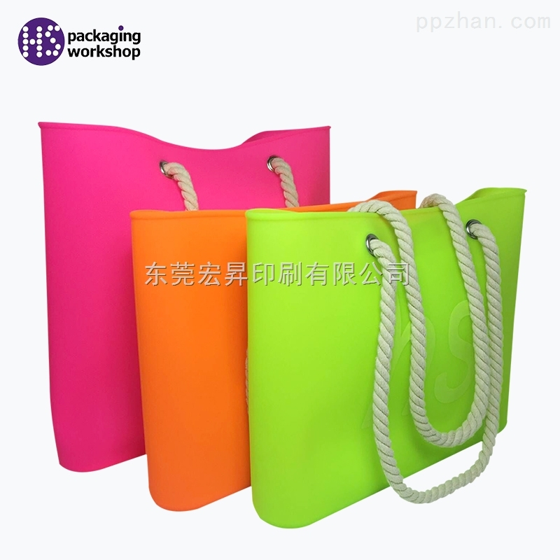 厂家定制精美橙色硅胶手提袋礼品袋